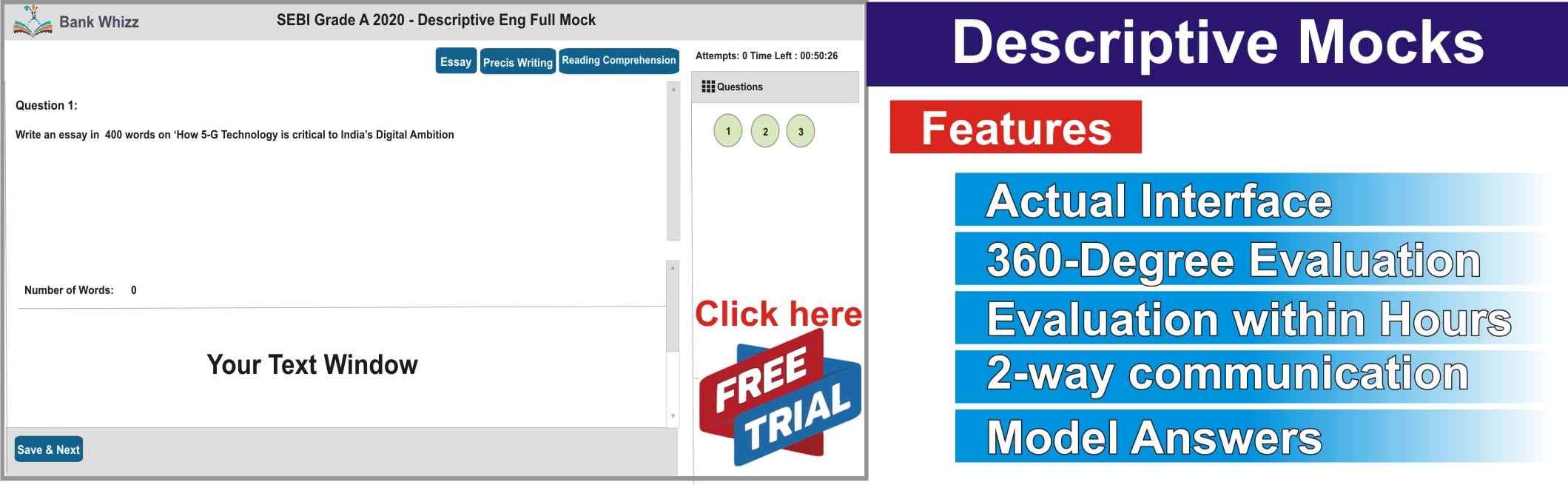 Descriptive English Mock Test for SEBI, NABARD, RBI, IRDA