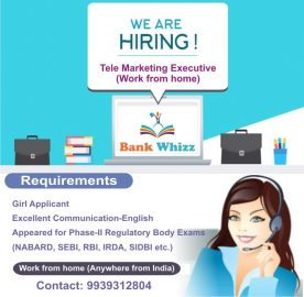 We are hiring for Telemarketing at Bankwhizz